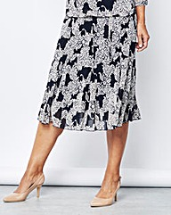 Lace Print Mesh Skirt with Belt 27in
