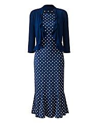 Spot Print Dress & Shrug L39