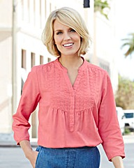 Linen-Mix Embroidered Blouse