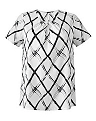 Grid Print Pleat-Neckline Modern Blouse