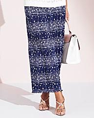 Navy Spot Plisse Maxi Skirt
