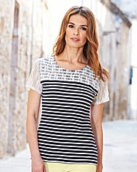 Stripe Jersey Top with Lace Yoke Detail