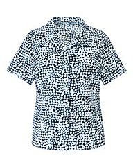 Navy Spot Short-Sleeve Crinkle Blouse