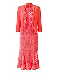 Spot Print Dress & Shrug L45