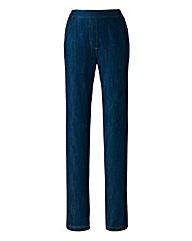 Pull-On Straight-Leg Jeans 25in