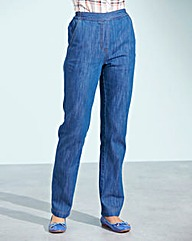 Pull-On Straight-Leg Jeans 31in