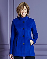 Funnel-Neck Coat with Zip Pockets