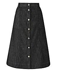 Button-Front Denim Skirt L 29in