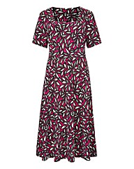 Print Square-Neck Jersey Dress L43