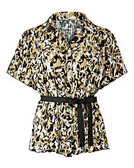 Print Crinkle Blouse with Belt