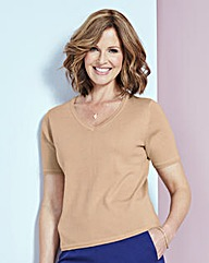 Supersoft Short-Sleeve V-Neck Sweater