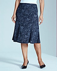 Lace Print Ponte Skirt L27in