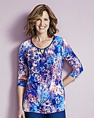 Print Jersey Tunic With Contrast Trim