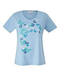 Jersey Top With Butterfly Print