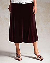 Pull on Panelled Velour Skirt 32in