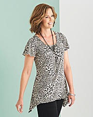 Printed Sparkle Jersey Top and Necklace