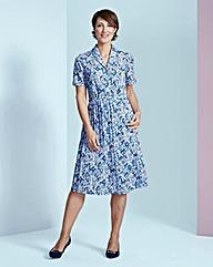 Print Shirt Dress with Pleat Skirt