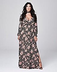 Crinkle Deep V Maxi Dress
