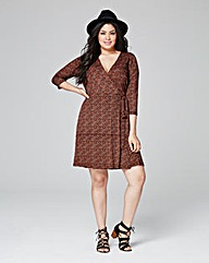 Ditsy Print Deep Plunge Wrap Dress