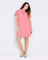 Blush Pink Lace Insert Swing Dress