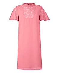 Blush Pink Lace Insert Swing Dress