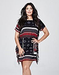 Black/Red Side Fringe Dress