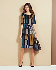 Graphic Stripe Print Side Tuck Dress