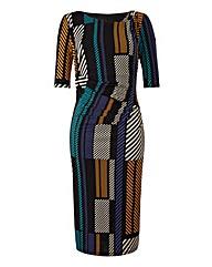 Graphic Stripe Print Side Tuck Dress