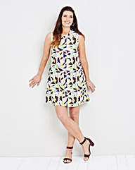 Geo High Neck Sleeveless Swing Dress