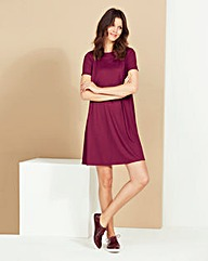 Damson Ribbed Jersey Swing Dress