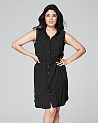 Black Button Sleeveless Shirt Dress