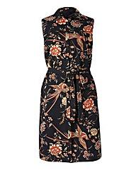 Print Button Sleeveless Shirt Dress