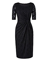 Black Lace Twist Knot Front Dress