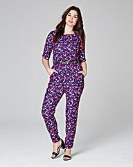 Multi Print Short Sleeve Jumpsuit