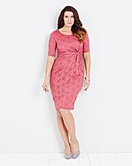 Dusky Pink Lace Twist Knot Front Dress