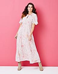 Pink Print Floral Maxi Dress