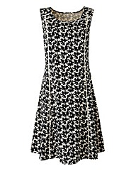Cream/Black Print Linen Mix Dress