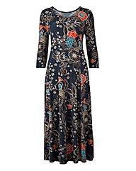 Multi Floral Jersey Midi Dress - L45