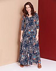 Multi Floral Jersey Maxi Dress - L 52