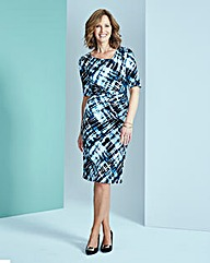 Geo Print Side Tuck Dress