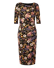 Floral Print Side Tuck Dress