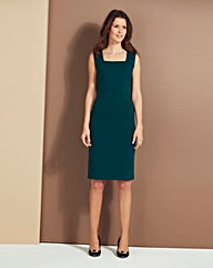 Teal Ponte Square-Neck Shift Dress