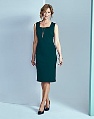 Ponte Square-Neck Dress