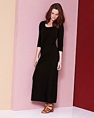 Plain Black Jersey Maxi Dress - L50in
