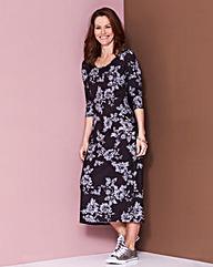 Mono Floral Jersey Midi Dress - L45