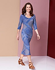 Blue Tile Print Jersey Midi Dress - L45