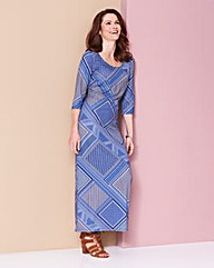 Blue Tile Jersey Maxi Dress - L50in