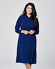 Button Down Sleeve Midi Shirt Dress
