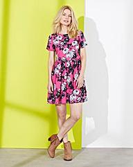 Pink Print Floral Print Dress