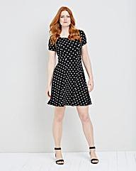 Spot Textured Jersey Skater Dress